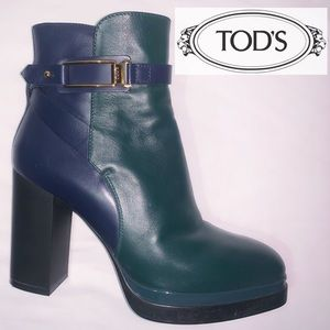 Tod's Women Leather Ankle Boots Green and Blue